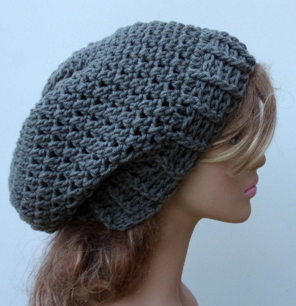 Pewter Gray Baggy Hipster Hat Smaller Dread Tam Slouchy Beanie