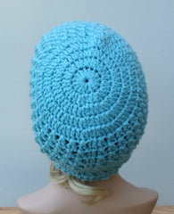 Iced aqua blue Baggy Hipster Hat Dread Tam Slouchy Hippie Beanie light teal