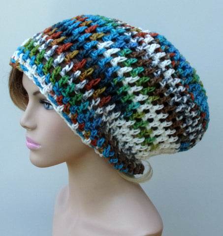 Colorful Surf and Turf medium length Dread Tam Slouchy Beanie Hippie Hat Baggy snood sock Handmade