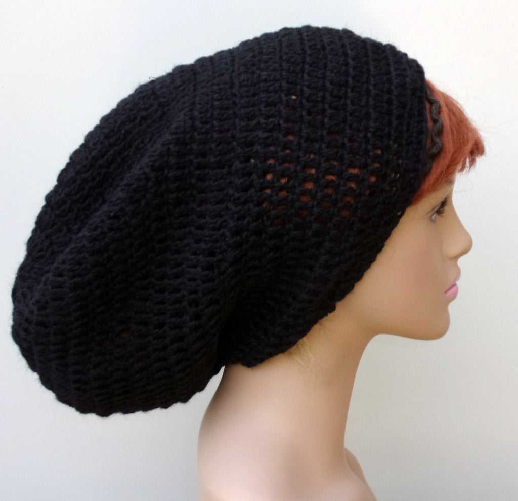 Very slouchy black Hemp Wool Tam Hat Hippie Slouchy Beanie dread men women extra  long cfb95f77b43