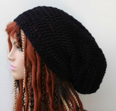 Very slouchy black Hemp Wool Tam Hat Hippie Slouchy Beanie dread men women extra long