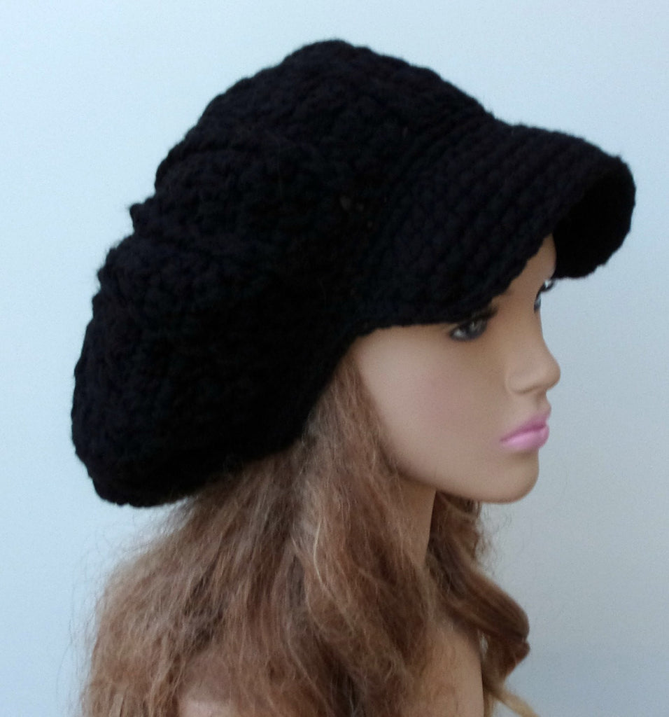 Black Newsboy cap for women or men Visor Hat Slouchy Newsboy Beanie Billed