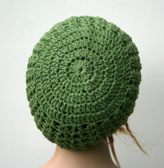 Green cotton handmade crochet slouchy beanie hat rosemary open stitch summer beanie