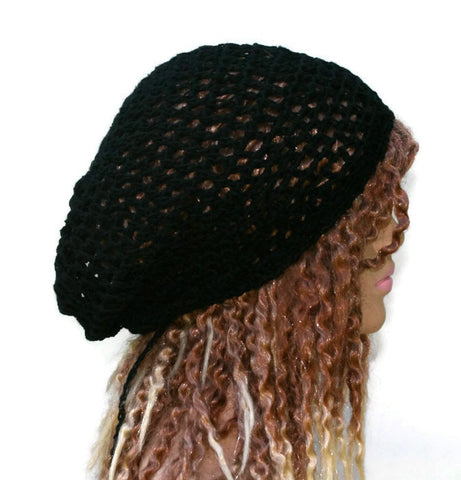 Hemp cotton beanie, black slouchy hat, very small Hippie Dread Tam, Snood hat, crochet summer beanie, woman black hat, man slouch hat, vegan