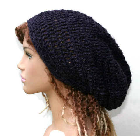 Hemp Wool Dark purple slouchy beanie dreadlock hippie tam hat