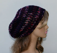 Soft slouchy beanie, dark berries purple burgundy hat, small Dread Tam hat, Slouchy Beanie