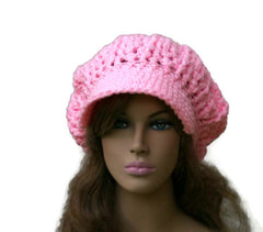 Newsboy hat in Petal Pink Cap Visor Tam Billed Slouchy Beanie hat