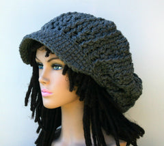 Gray Charcoal Newsboy Cap, dark grey Visor Dread Tam Hat, Hippie Slouchy Beanie cap hat, man, woman