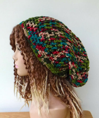 Handmade slouchy beanie in 16 colors custom variegated cotton snood slouchy hat/women men Dread Tam hairnet hat/light summer beanie made to order