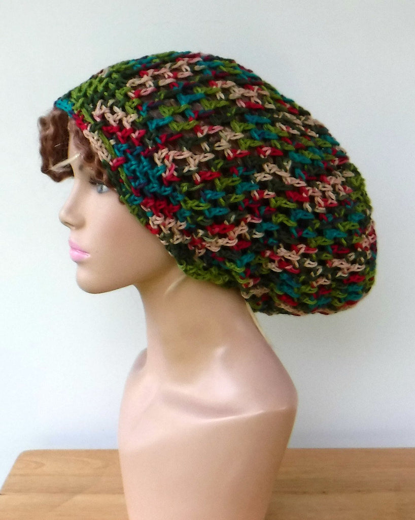 Handmade slouchy beanie in 16 colors custom variegated cotton snood slouchy  hat women men Dread d697689be18b