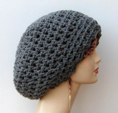 Thick gray Hippie Dreadlocks Snood Tam Hat Slouchy beanie