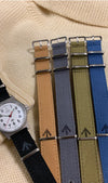 Canvas nato straps with Broad Arrow stamp.