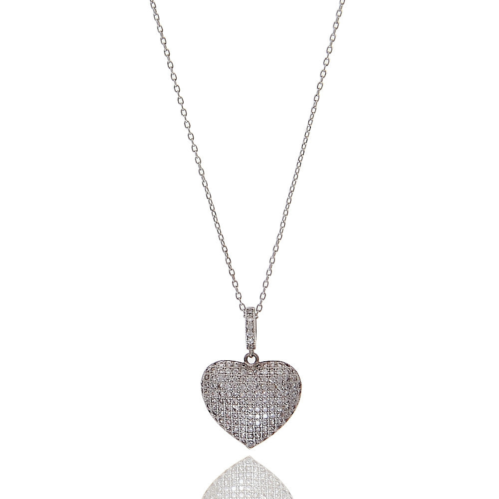 Micropave Heart Cubic Zirconia Necklace - hoopsbaby.com