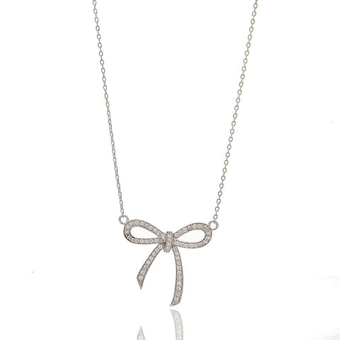 Fancy Bow CZ Necklace - hoopsbaby.com