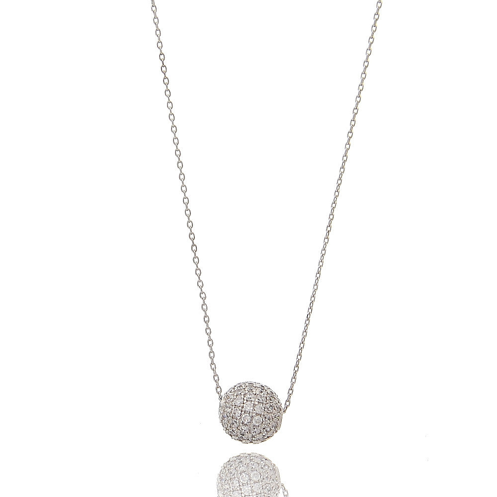 Delicate Pave CZ Ball Necklace - hoopsbaby.com