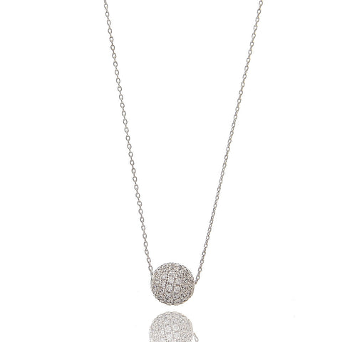 Delicate Pave CZ Ball Necklace