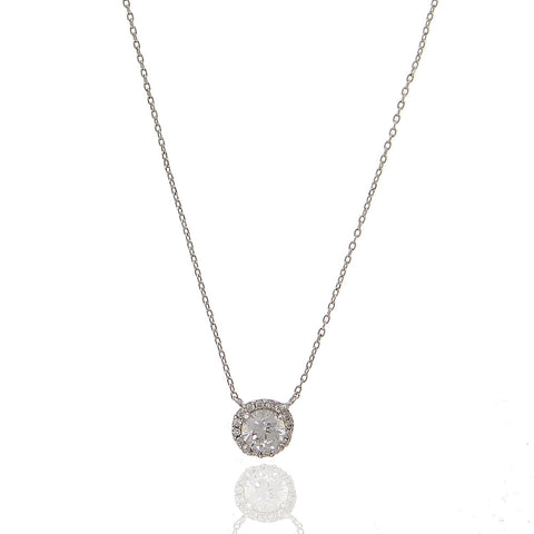 Round Pave Cubic Zirconia Necklace