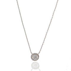 Round Pave Cubic Zirconia Necklace - hoopsbaby.com