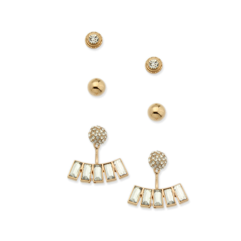 Set of 3 Clear Studs & Double-Sided Fashion Earrings - hoopsbaby.com