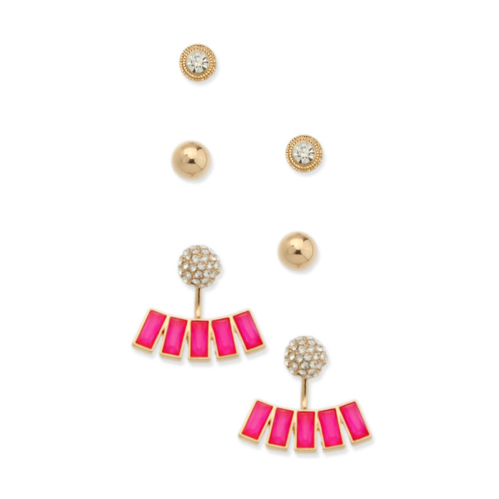 Set of 3 Neon Pink Studs & Double-Sided Fashion Earrings - hoopsbaby.com
