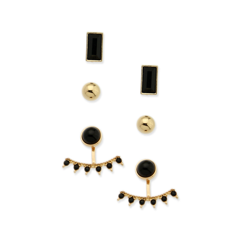 Set of 3 Studs & Double-Sided Fashion Earrings - hoopsbaby.com