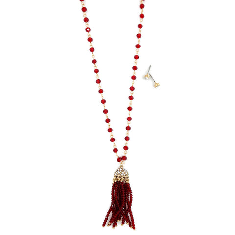 Long Red Beaded Tassel Necklace