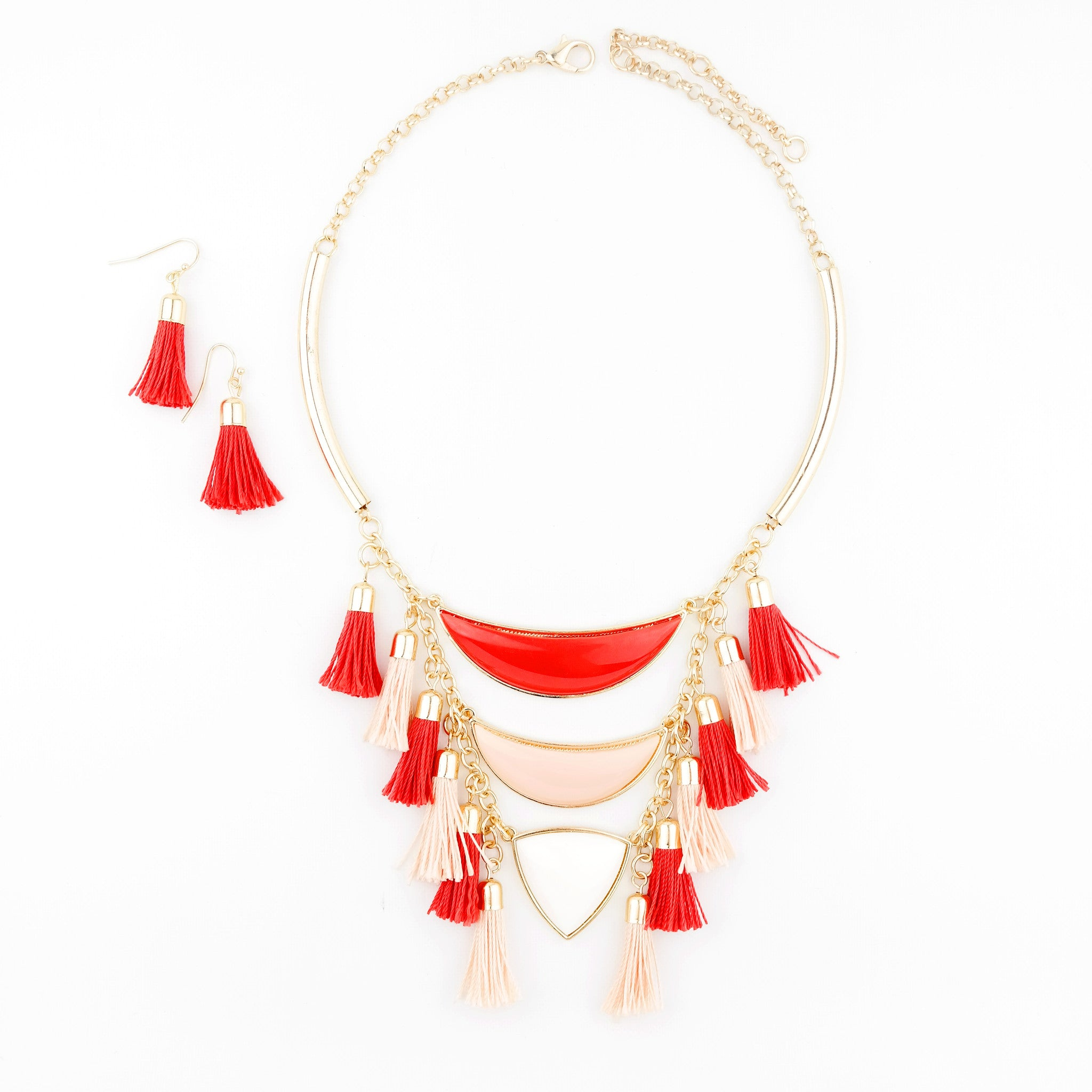Red Tassel Necklace - hoopsbaby.com