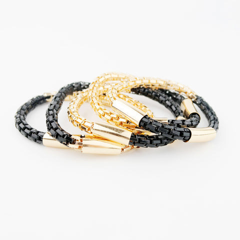 Multi Chain Black & Gold Stretch Bracelet - hoopsbaby.com