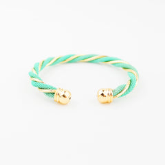 Twisted Gold & Mint Cuff - hoopsbaby.com