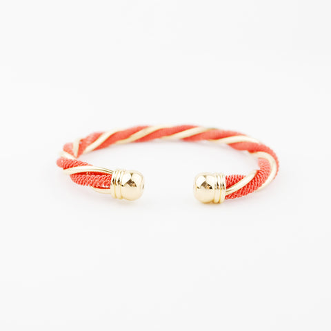 Twisted Gold & Coral Cuff