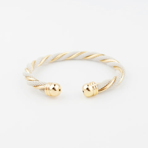 Twisted Gold & White Cuff - hoopsbaby.com