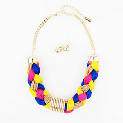 Braided Rope Statement Necklace - hoopsbaby.com