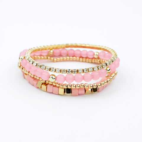 Multi Beads and Rhinestone Stretch Bracelet - hoopsbaby.com - 1