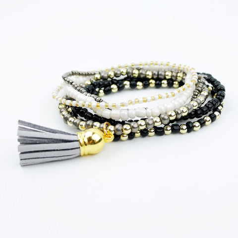 Beaded Bracelet Set with Tassel Charm