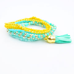 Beaded Bracelet Set with Tassel Charm - hoopsbaby.com - 3