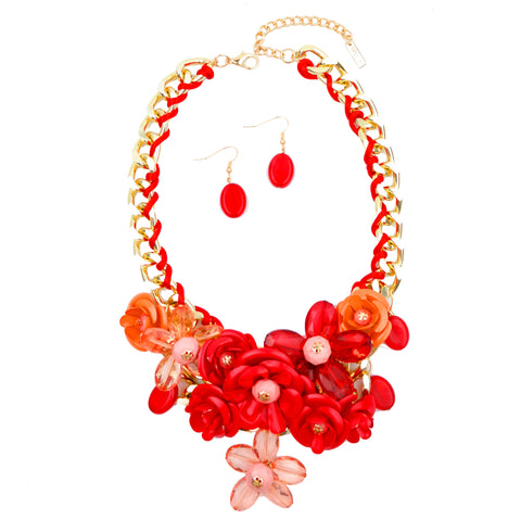 Mixed Spring Flowers Statement Necklace - hoopsbaby.com - 1