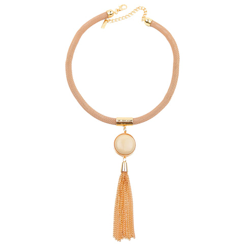 Nude Mesh Necklace - hoopsbaby.com