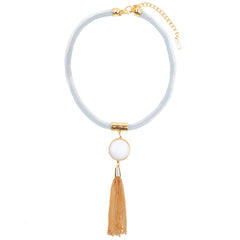 White Mesh Necklace - hoopsbaby.com