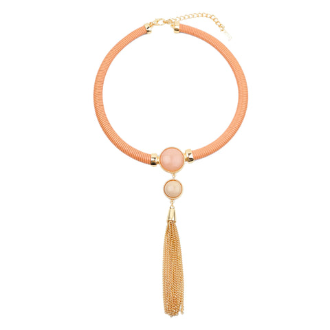 Nude &  Metal Tassel Necklace - hoopsbaby.com - 1
