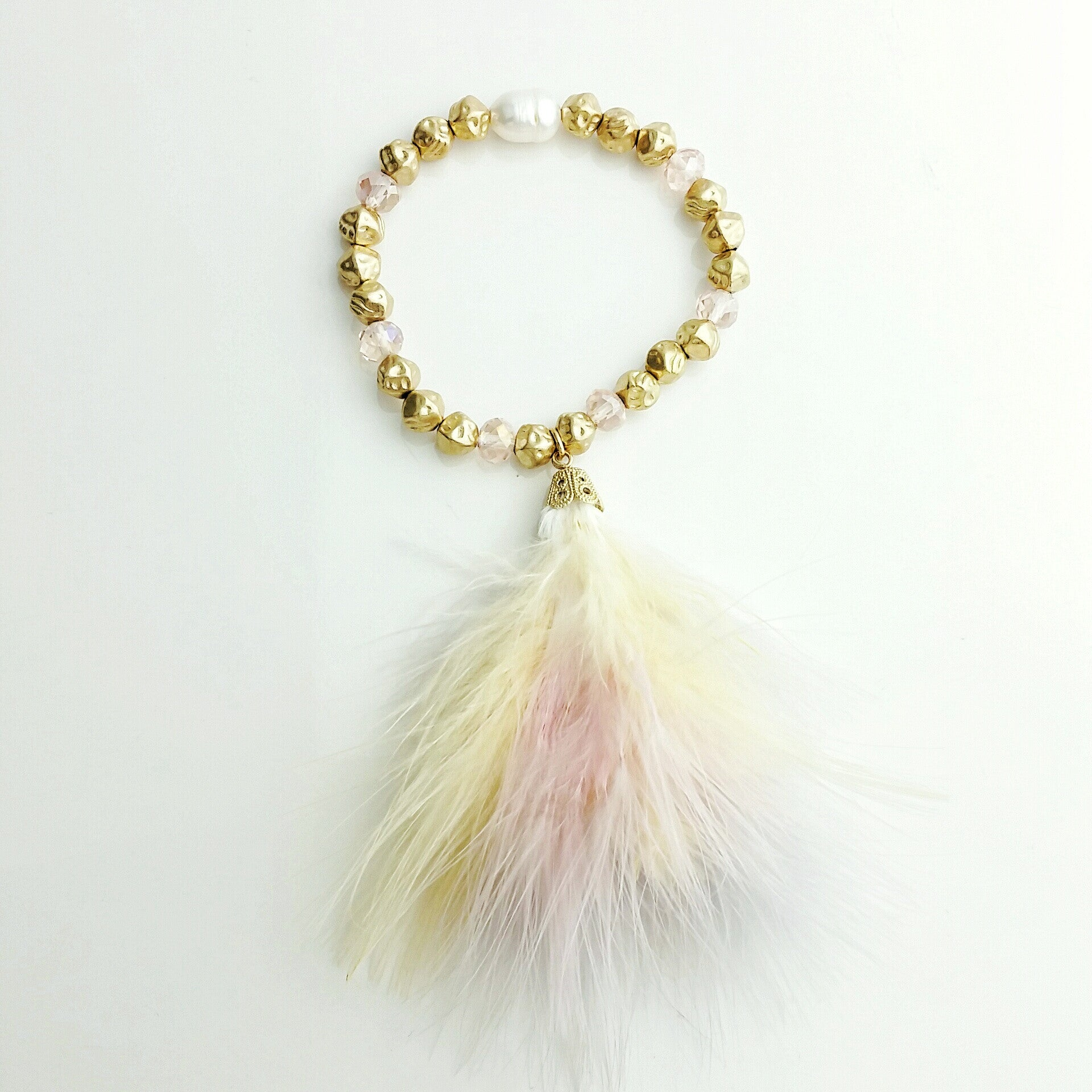Feather & Crystal Bracelet - hoopsbaby.com