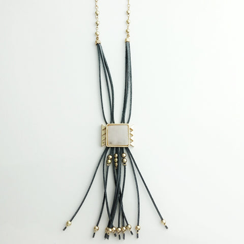 Long Necklace With Leather Chime - hoopsbaby.com