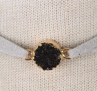 Leather Choker With Druzy Crystal