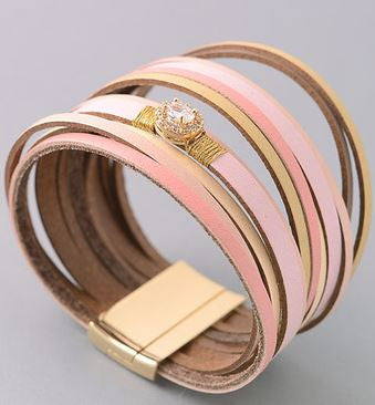Wrap around bracelet with diamond accent.