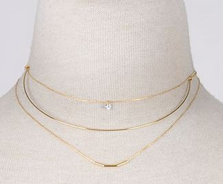 Lovely Triple Bar Choker Necklace
