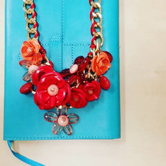 Mixed Spring Flowers Statement Necklace - hoopsbaby.com - 2