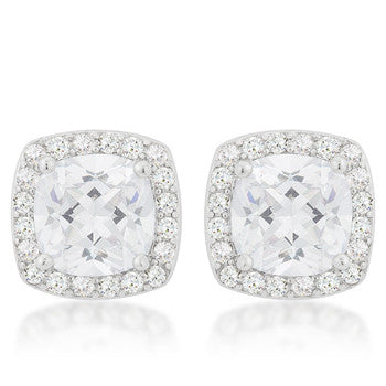 Halo Earrings with Cushion and Round Cut Cubic Zirconia - hoopsbaby.com - 1
