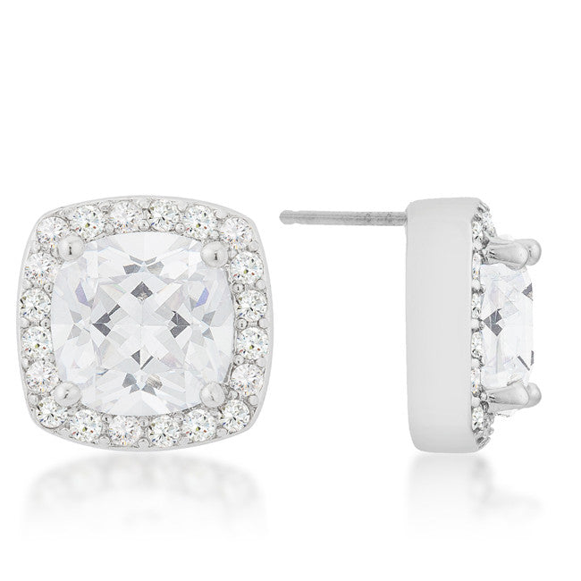 Halo Earrings with Cushion and Round Cut Cubic Zirconia - hoopsbaby.com - 2