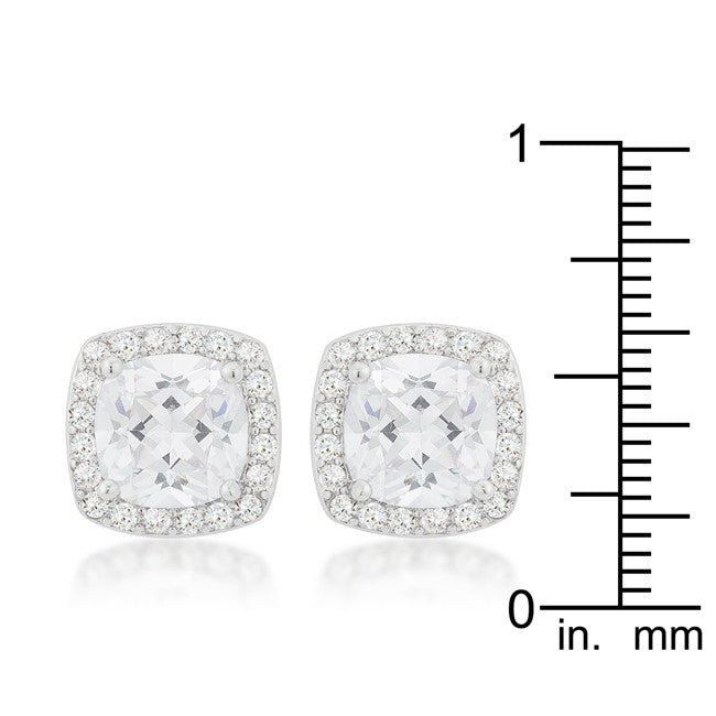 Halo Earrings with Cushion and Round Cut Cubic Zirconia - hoopsbaby.com - 3