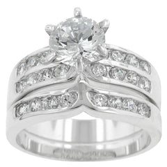 Engagement Ring Set with Channel and Prong Set Round Cut Clear Cubic Zirconia - hoopsbaby.com - 2