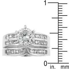 Engagement Ring Set with Channel and Prong Set Round Cut Clear Cubic Zirconia - hoopsbaby.com - 3